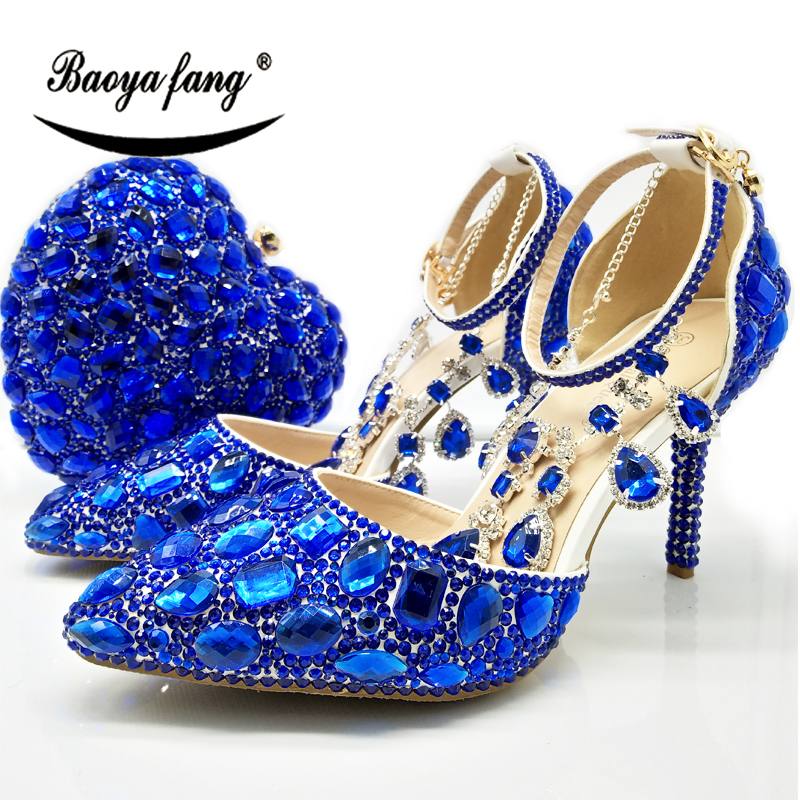 BaoYaFang New Wedding shoes with matching bag set Royal Blue crystal Bride Payty Dress shoes and Heart Purse women shoes baoyafang red crystal womens wedding shoes with matching bags bride high heels platform shoes and purse sets woman high shoes