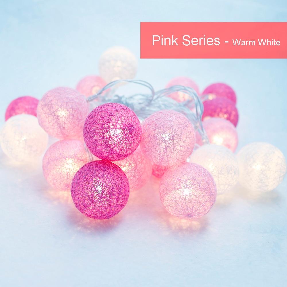 Piłka bawełniana LED Light string 10Leds Lampa świąteczna Pink - Oświetlenie wakacje - Zdjęcie 3
