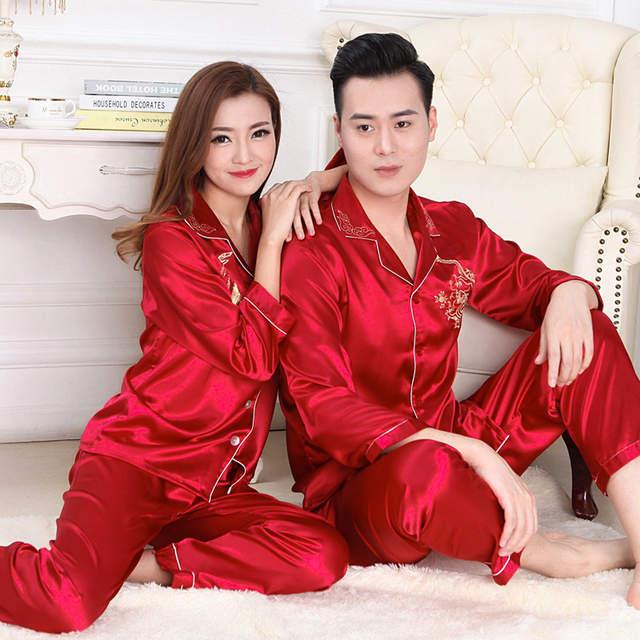 e51f3a7b8c Online Shop Winter Womens Mens Couple Silk Pajamas Suits Set Lapel Solid Long  Sleeve Chinese Dragon Printing Pijamas Pyjamas Sleepwear