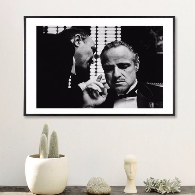 Retro Black and White The Godfather Art Print Painting Poster Wall ...
