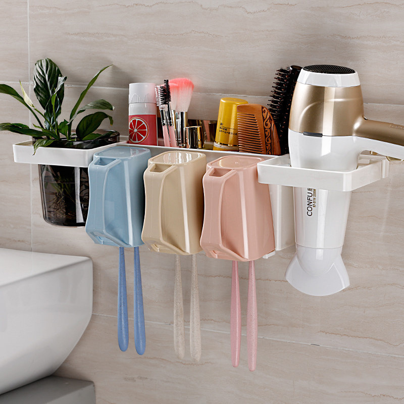 Multifunction Toothbrush Holder Put Toothbrush Toothpaste Cup Hair Dryer Bathroom Shelf Practical Home Mount Rack Accessories