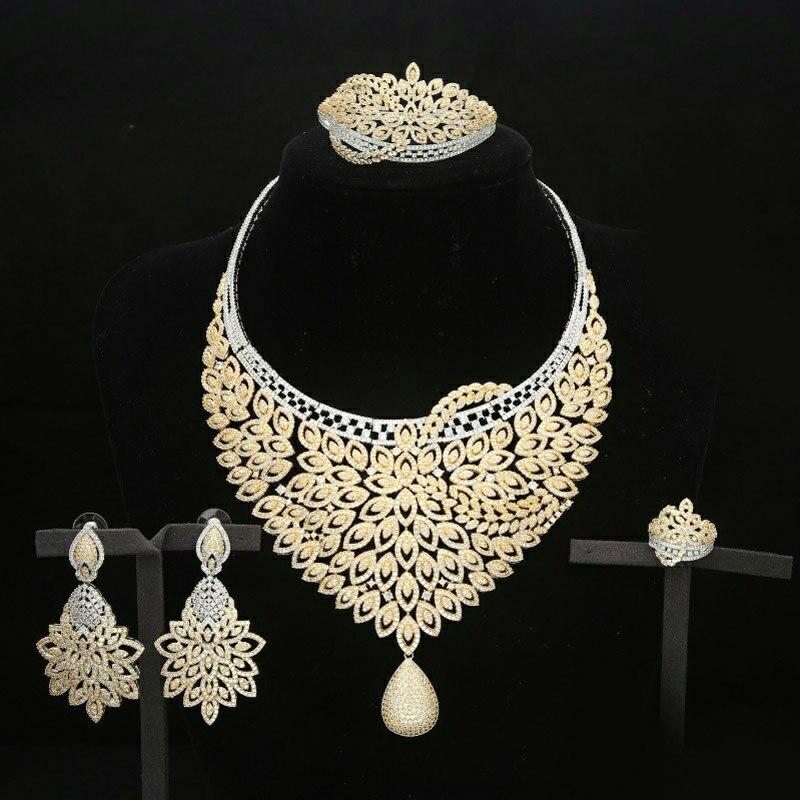 Grand luxe or/argent 4 pièces nigérian collier ensembles de bijoux pour les femmes de mariage Zircon cristal CZ indien africain ensemble de bijoux de mariée