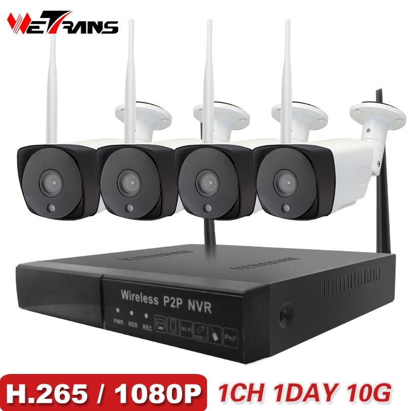 Wetrans CCTV Системы Беспроводной Камера охранных 1080 P HD H.265 открытый Водонепроницаемый Wi-Fi ip-камера NVR P2P комплект видеонаблюдения