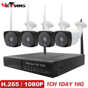 Wetrans CCTV Sem Fio Sistema de Câmera de Segurança Em Casa 1080 p HD P2P H.265 Impermeável Ao Ar Livre Wifi IP Cam NVR Videovigilância kit