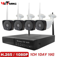 Wetrans CCTV Системы Беспроводной Камера охранных 1080 P HD H.265 открытый Водонепроницаемый Wi Fi ip камера NVR P2P комплект видеонаблюдения