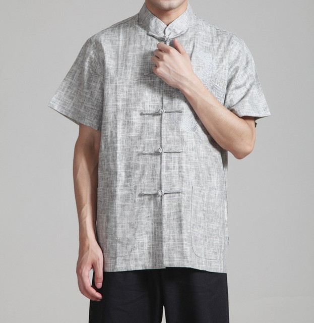 Gray Summer Vintage Chinese Men's Linen Kung Fu Shirt Top with Dragon Size S M L XL XXL XXXL Free Shipping 2340-3
