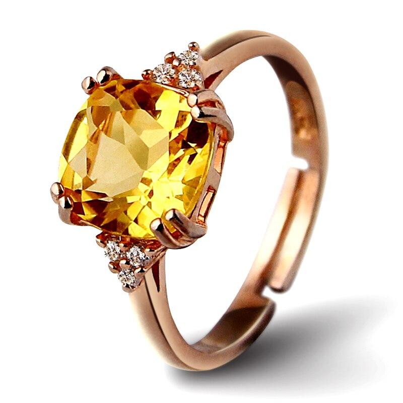 S925 bagues en argent pour femmes Citrine naturelle pierres précieuses Sterling bijoux fins 18 K or Rose Rectangle mariée mariage Bijouterie