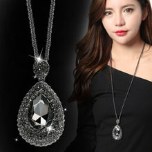 DuoTang Trendy Water Drop Gray Crystal Rhinestone Pendant Necklace Long  Link Chain Necklace For Women Gift Jewelry 09a7ec0030de