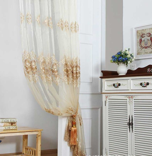 Embroidery Flowers Curtain Fabric Kitchen Voile Tapestry Drapery Cortina Drape Tulle Without