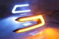 Osmrk СИД drl дневного света + перемещение желтый сигнал поворота для Toyota Camry 2018 с беспроводного управления