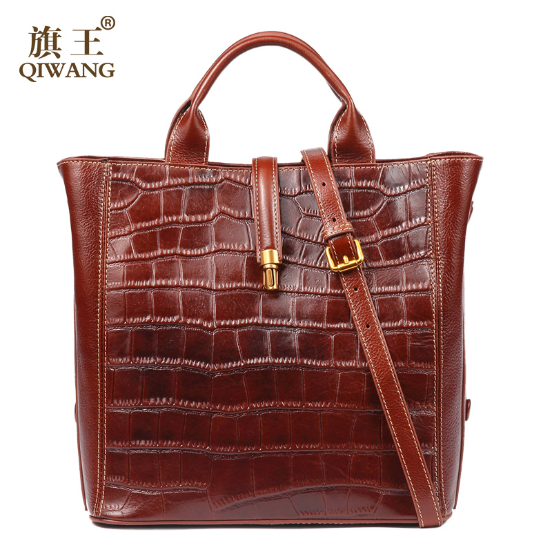 Qiwang Brown Women Bag 100% Genuine Leather Women Crocodile Shoulder Handbag Vintage Luxury Tote Women Bag Quality Bag 2017 women tote bag 100