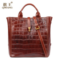 Qiwang Brown Women Bag 100 Genuine Leather Women Crocodile Shoulder Handbag Vintage Luxury Tote Women Bag