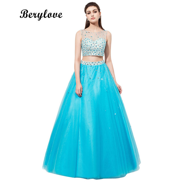 BeryLove Two Pieces Ball Gown Prom Dresses 2019 Blue Beading Tulle ...