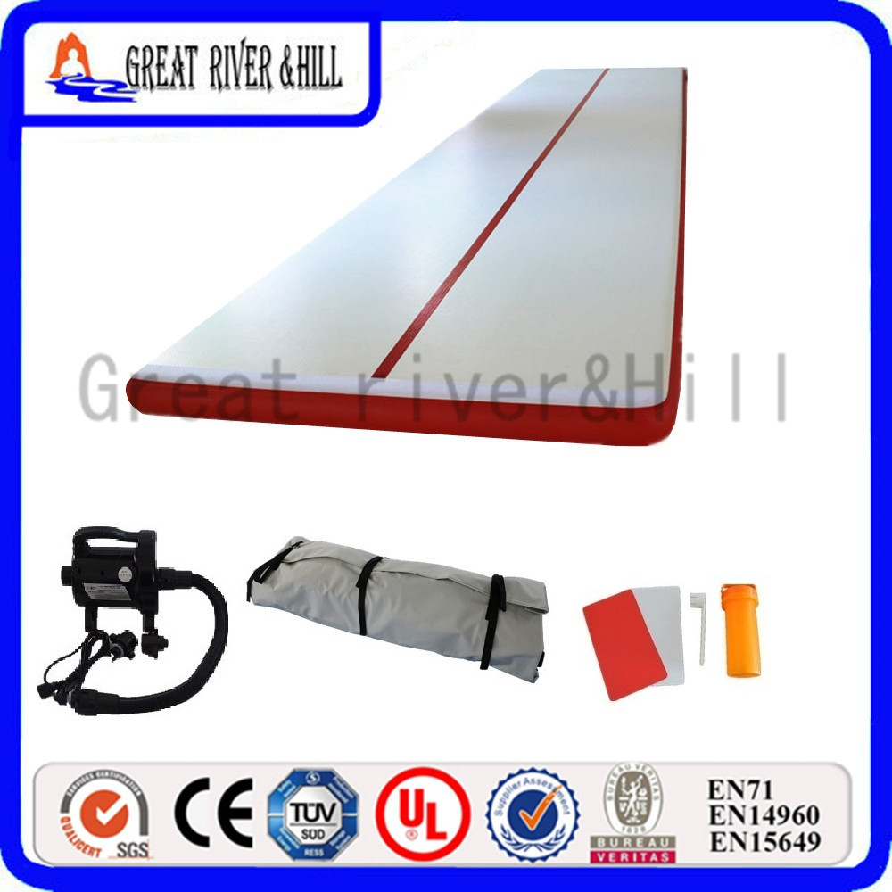 Great river hill gymnastic mat inflatable air track waterproof red 9m x 1.8m x 0.1m