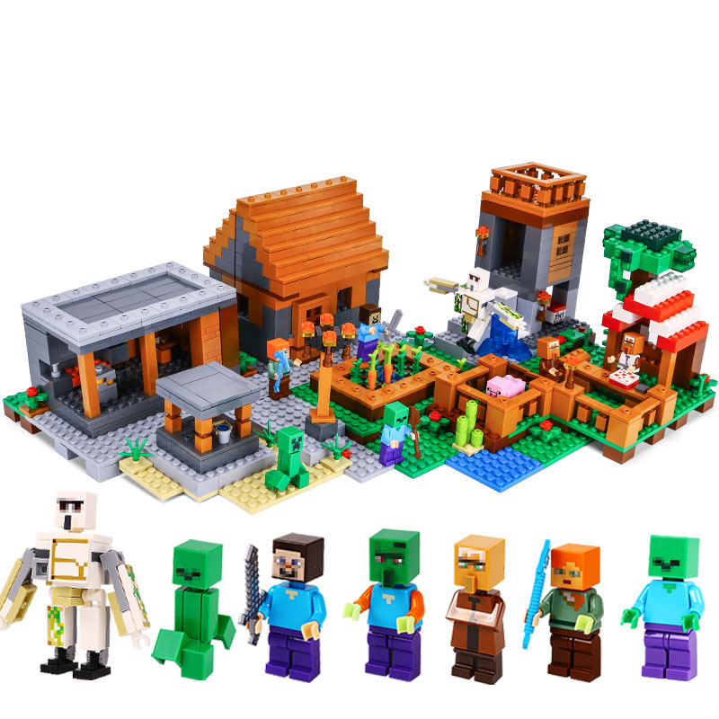 Mailackers Lepin Legoing Minecrafts 18010 The Village 1106Pcs My World Building Blocks Toys Children For Legoing Minecraft 21128 lepin 18010 my world 1106pcs compatible building block my village bricks diy enlighten brinquedos birthday gift toys kids 21128