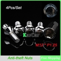 M12x1.25 Anti theft Screw Bolts Alloy Steel High Quality, Car Wheels Lock Formula Lug Nuts Close End Silver 4Pcs/Set