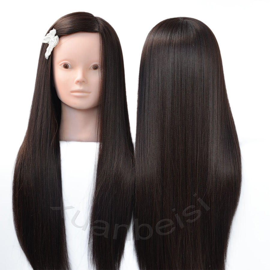 Brown Hair Head Dolls For Braiders Synthetic Mannequin Head Hairstyles Female Mannequin Hairdressing Maniken Training Head