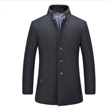 2020 new arrival winter high quality wool men's gray Single Breasted trench coat,winter coat men ,plus-size