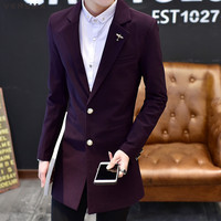 VERSMA 2018 Black Long Suit Blazer Jacket Male Slim Fit Groom Wedding Suits Blazers Casual Tuxedo Purple Mens Suit Boys Blazer