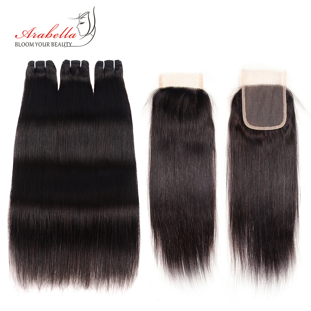 Brazilian Straight Hair Bundles With Lace Closure Arabella Human Hair Bundles With Closure Remy tissage bresiliens