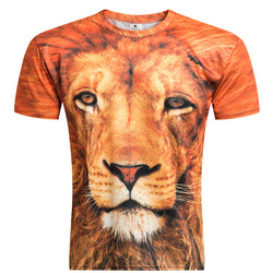 2016 new mens fashion 3d t shirt men short sleeve lion head printed casual t shirt.jpg 250x250