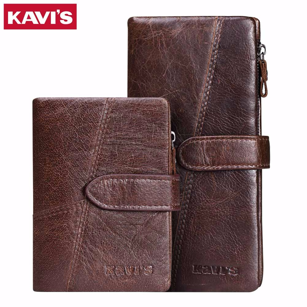 KAVIS 2017 New Genuine Leather Wallets Men Vintage Long Male Cuzdan Clutch Rfid Coin Purse Long Wallet Brand Card Perse Handy
