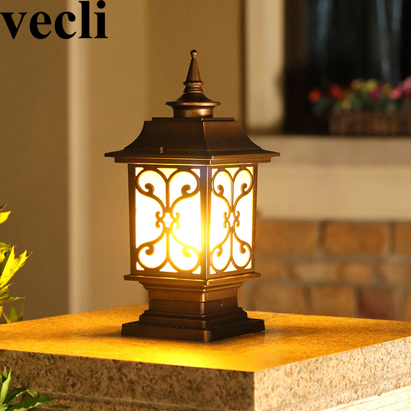 Country creative fashion outdoor post light fixtures waterproof IP54 corridor villa residential column lights