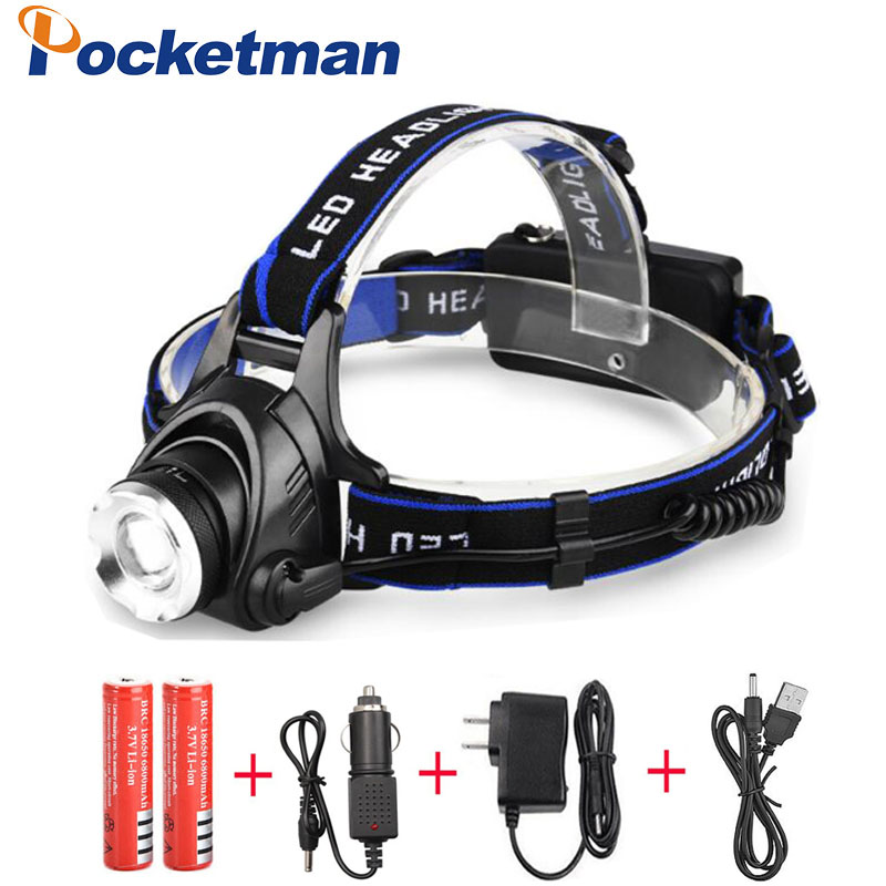 8000LM XML-L2 XM-L T6 Led Headlamp Zoomable Headlight Waterproof Head Torch Flashlight Head Lamp Fishing Hunting Light