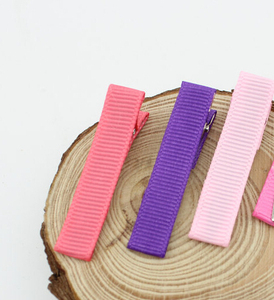 """Image 3 - 240pcs Hair clip accessories 1.8"""" Ribbon Lined cover Alligator clips Single Prong hairpins girls Hair bow flower headwear FJ3206"""