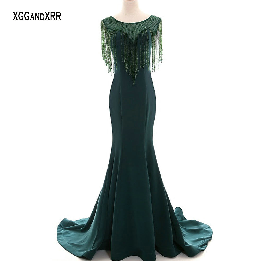 Elegant Dark Green Crystal Tassel Mermaid Long Satin Prom Dress 2019 Luxury O Neck Illusion Evening