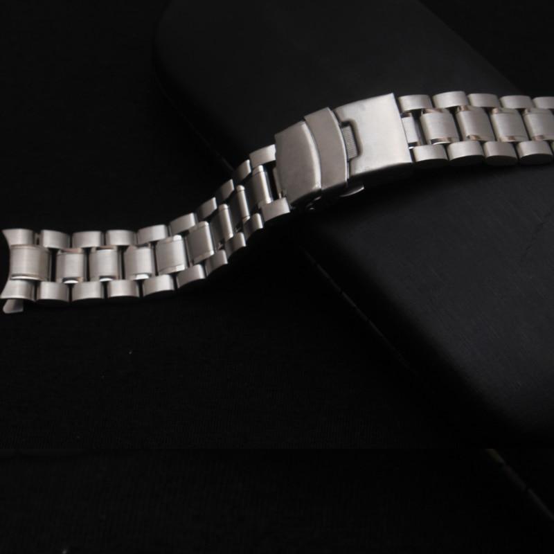 Neue Heiße Verkauf Mann Frau Silber Solide Edelstahl Metall Curved - Uhrenzubehör - Foto 1
