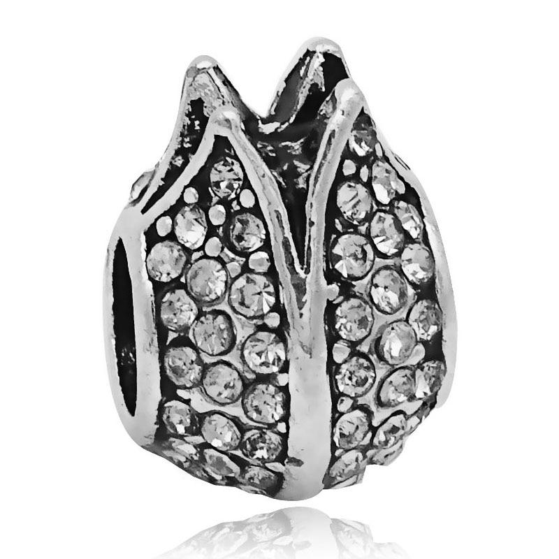 1PC Silver Flower Big Hole Loose Beads 2016 New European Pendant Bead Fits Pandora Charms Bracelets Pendants DIY Jewelry