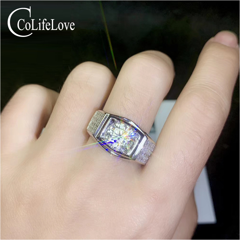 CoLife jewelry fashion silver moissanite ring 1ct 2ct VVS1 grade moissanite silver ring 925 silver moissanite jewelryCoLife jewelry fashion silver moissanite ring 1ct 2ct VVS1 grade moissanite silver ring 925 silver moissanite jewelry