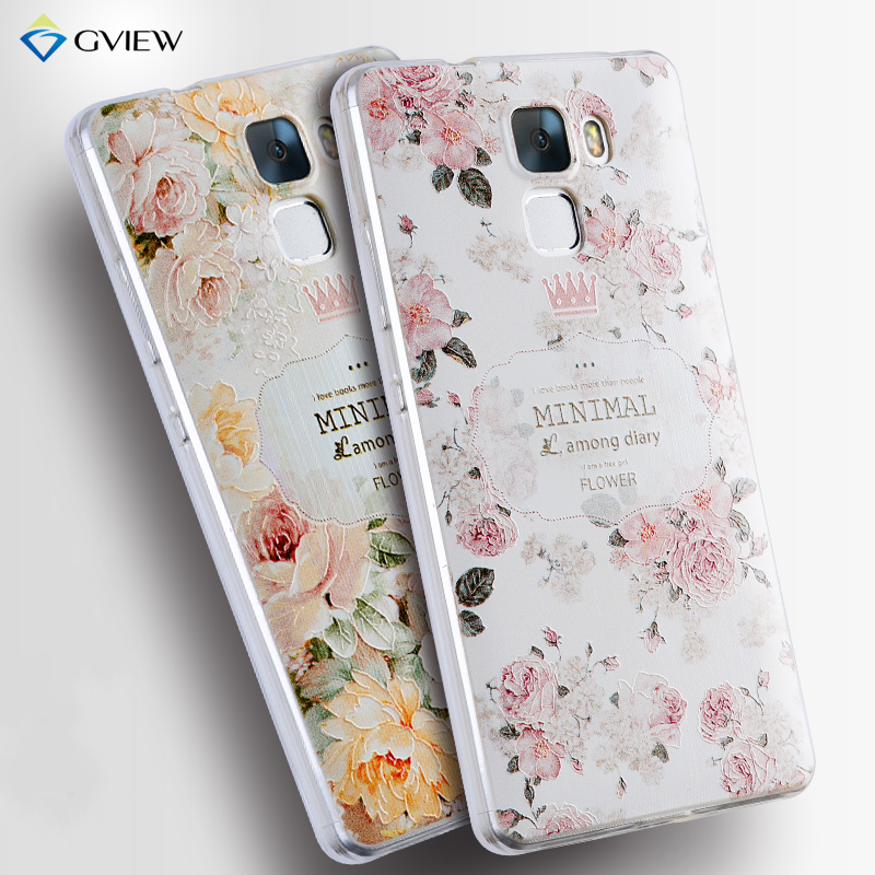 For Huawei Honor 7 Case Luxury Transparent Soft TPU 3D Relief Print Back Flip Cover Case