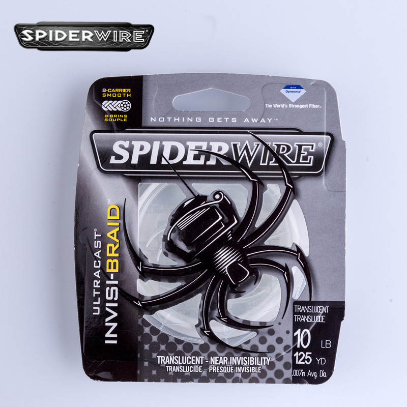 Spiderwire INVISI-BRAID 114m Crystal White PE Braided Fishing Line 8 Strands Braided Wire Cord Fishing Tackle #0.4-#7.5 6-80LB