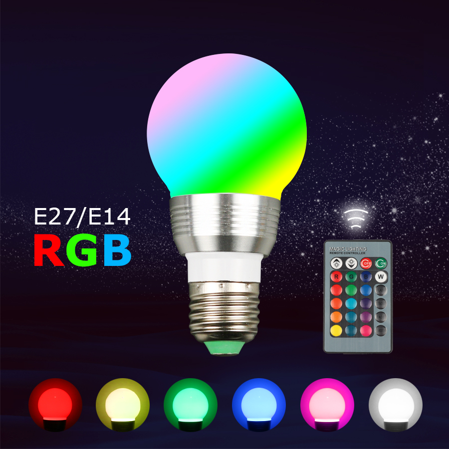 E27 Led Lamp E14 RGB Spot Bulbs 110V 220V 3W Power Ampoule Led Bulb E14 Led E27 Light Energy Saving Lamp For Home Decor Lighting 3w led rgb high power led lamp bulbs rgb six legs 350ma 3 2 3 4v taiwan genesis hpo chips free shipping