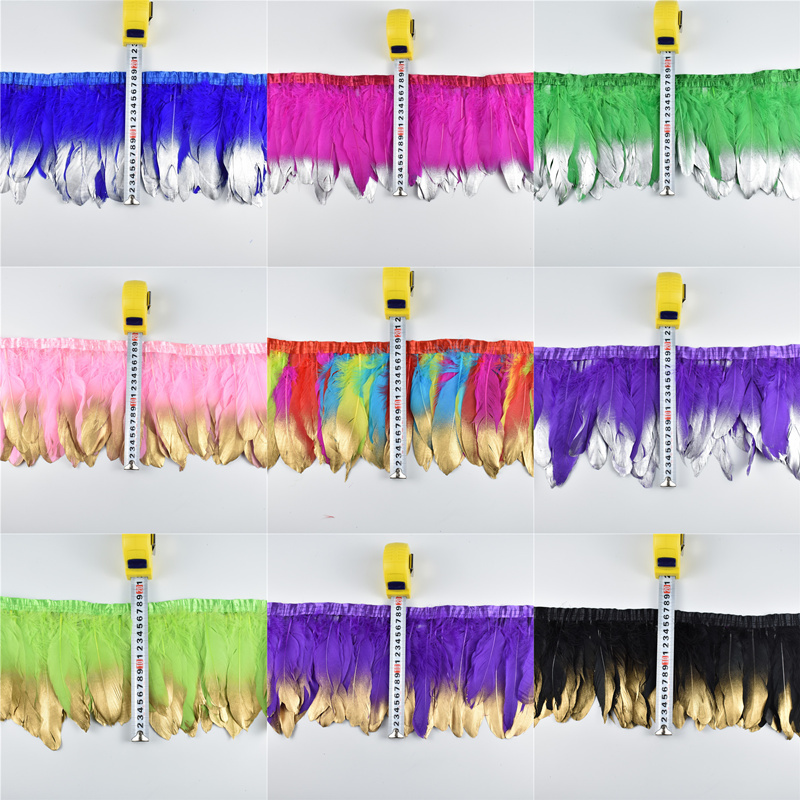 Gold Dipped Goose Feather Trims Dyed Real Geese Feather For Crafts Fringes Ribbons for Dress Skirt Cloth Belt Clothing Plumes