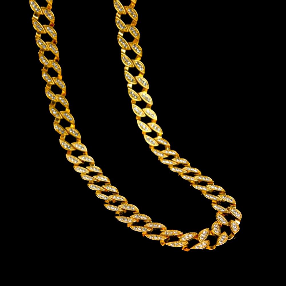 Uwin Full Iced Out Rhinestones Kalung Lelaki Warna Perak Kuba Link - Perhiasan fesyen - Foto 4