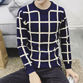 autumn new plaid sweater men round neck Slim Fit Pullovers men's sweater Youth sweatercoat undershirts Male Jumper