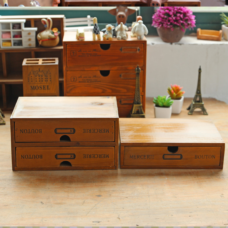 Zakka Retro Vintage Office Desktop Wooden Storage Boxes Two Layers Drawer Multi-function Square Wooden Boxes  plywood