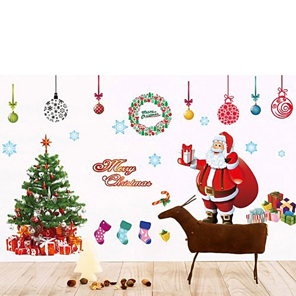 DIY Removable Mural Christmas Santa Claus Christmas Tree Wall