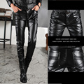 2015 spring autumn dark Nightclubs personality black leather pants men casual slim fit skinny leather feet pants for men,28-33