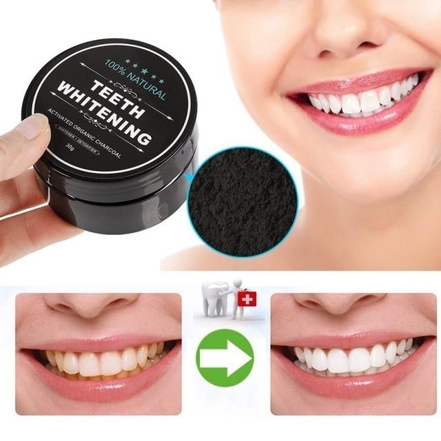 30g polvo blanqueador de dientes carbón Coco orgánico carbón dientes blanqueamiento polvo cuidado de la salud Natural higiene bucal