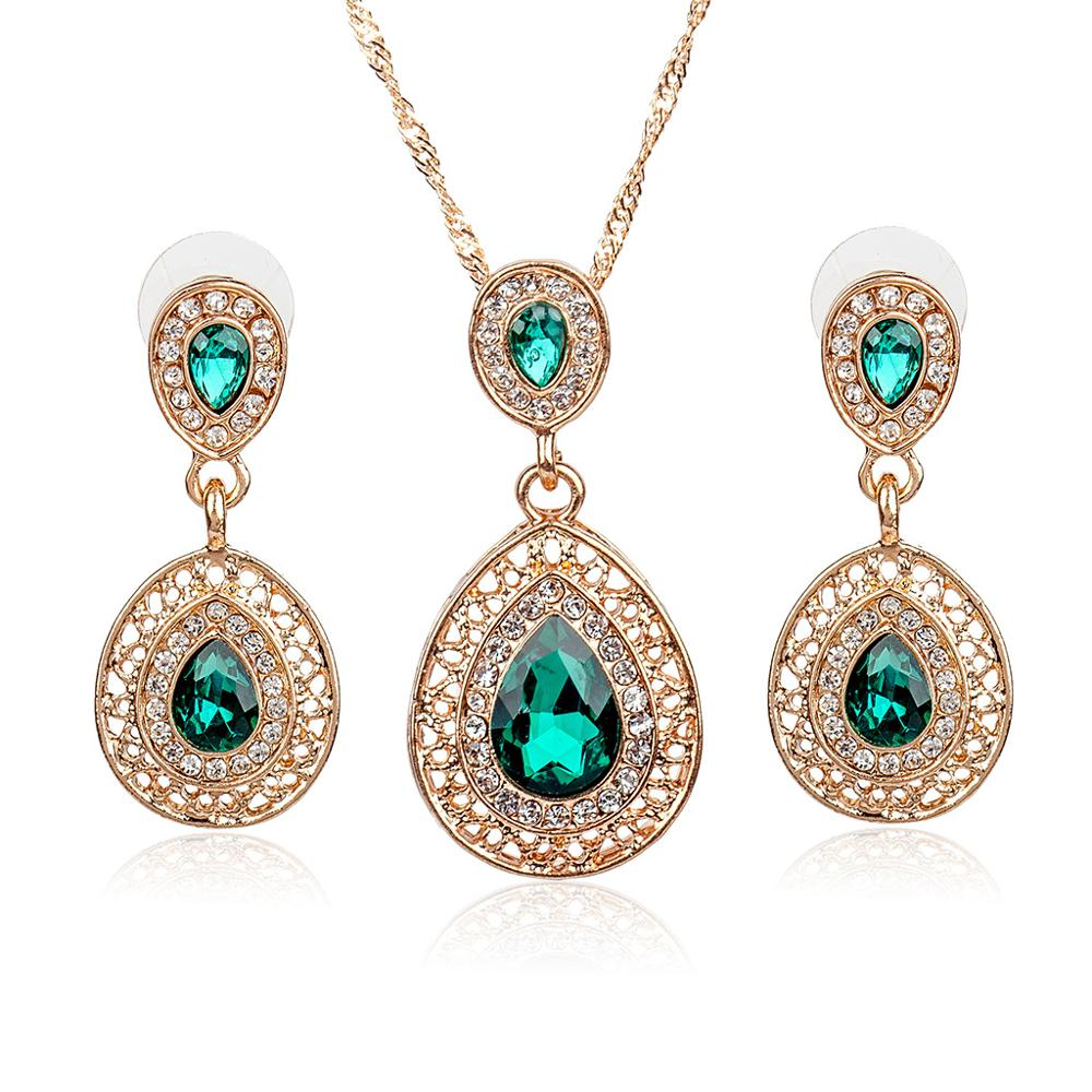 Wedding Bridal Dress Accessories Jewelry Sets For Women Water Drop Crystal Necklace Earr ...