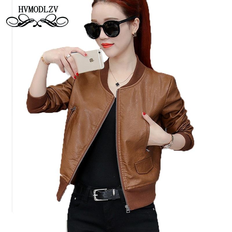 Bomber Women   Leather   jacket 2018 New Spring and autumn Fashion Short Simulation   Leather   Coat Chaqueta mujer LJ600