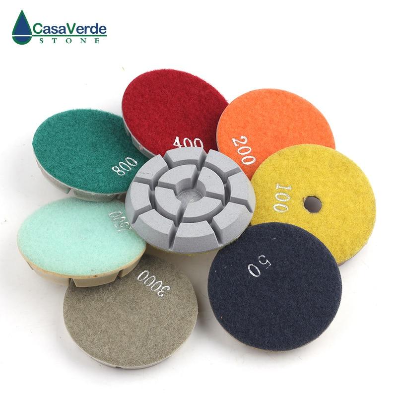 Livraison gratuite tampons de polissage de sol en diamant humide 3 pouces 80mm pour le polissage du marbre de béton de granit