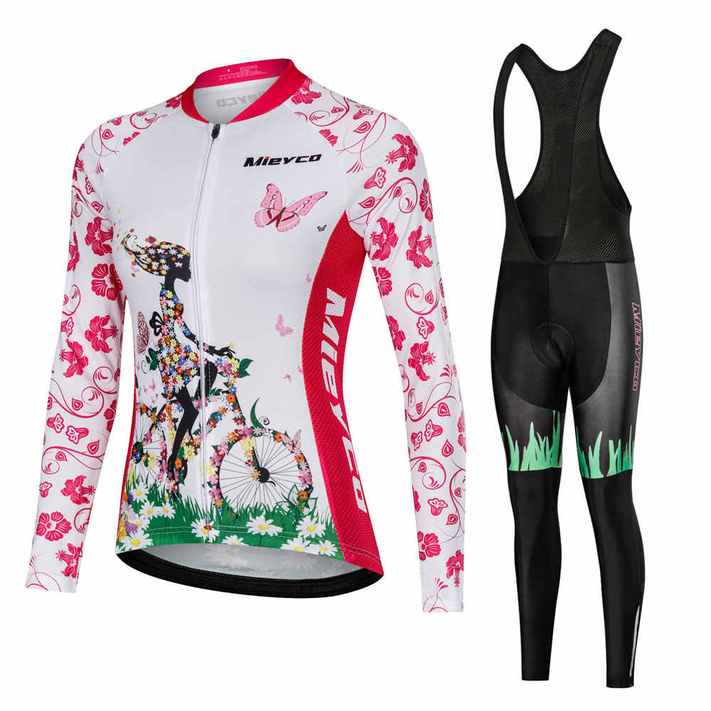 Pro Team Cycling Clothing Women Long Sleeve Bicycle Jersey Set Sport MTB Wear Quick Dry Womens Road Bike Clothes Female Riding