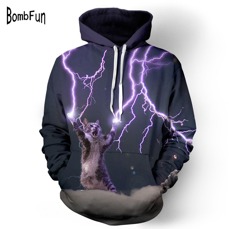 BombFun Fashion Purple Lightning Cat Hoodies Sweatshirts 3d Print Tracksuits Tops Men/Women Couples Hoodie Casual Outwear ...