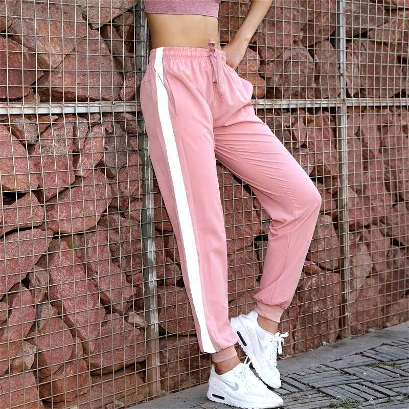 Women's Sports Pants Loose Fitness Running Reflective Strips Jogger Pants 2018 Autumn New Sportswear