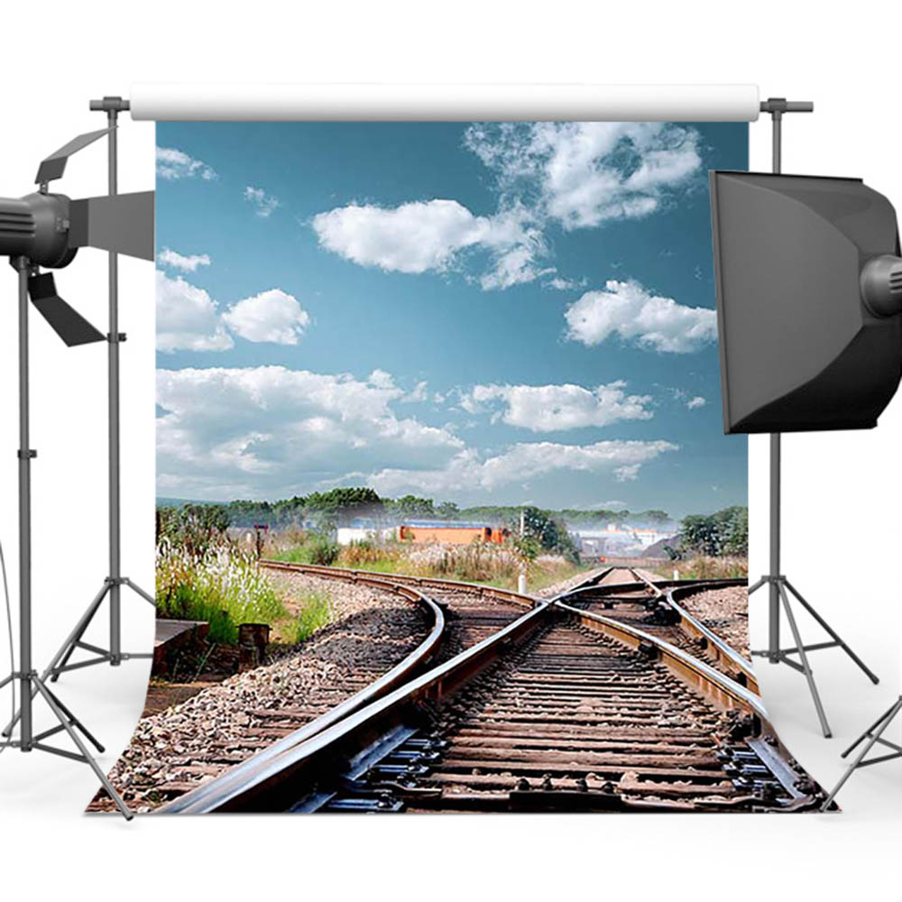 Mehofoto Railroad Intersection Photo Booth Background for Pictures Blue Sky Backdrop for Photography Studio White Cloud S-3038